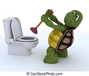 3D render of a tortoise plumbing contractor