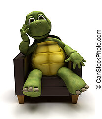 3D Render of a Tortoise relexing in armchair
