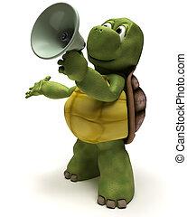 3D Render of a Tortoise shouting in a bull horn