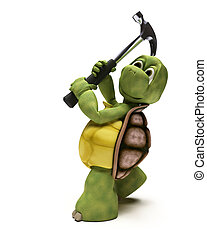 3D render of a Tortoise with a claw hammer