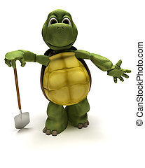 tortoise with a spade digging