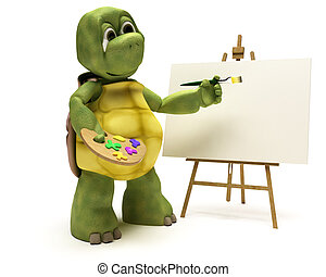 Tortoise with easel and paint palette - 3D render of a...