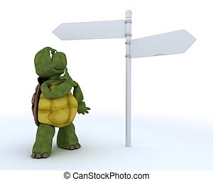 tortoise with sign post