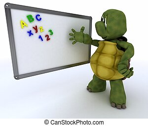 3D render of a tortoise with White class room drywipe marker board