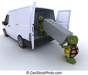 tortoises loading a refridgerator into a van - 3D render of...