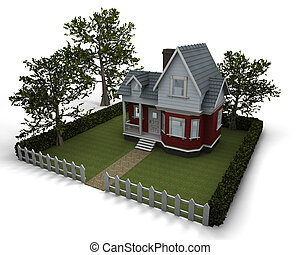traditional timber house with garden - 3D render of a ...