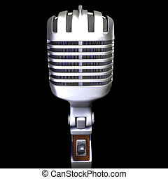 3d render of a vintage microphone on a black background