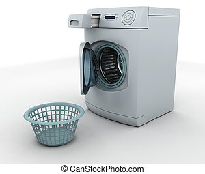 washing machine and laundry basket - 3D render of a washing ...