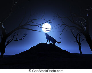 3D landscape background with a wolf howling at the moon