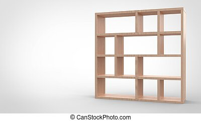 3d render of a wooden segmented blank book shelf in white background