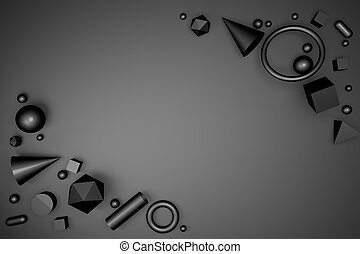 3D render of abstract geometric shapes on a black background