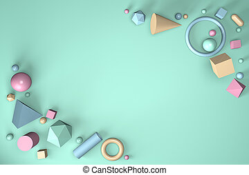 3D render of abstract geometric shapes on a mint background
