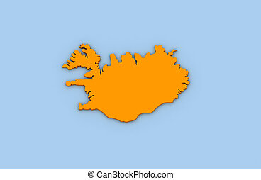 Iceland - 3d render of abstract map of Iceland highlighted...