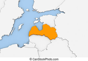 Latvia - 3d render of abstract map of Latvia highlighted in...