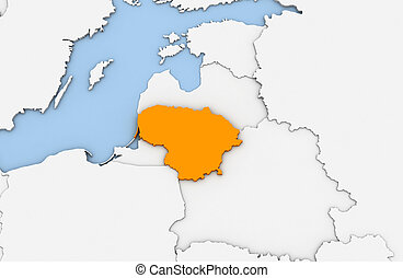 Lithuania - 3d render of abstract map of Lithuania ...