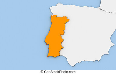 Portugal - 3d render of abstract map of Portugal highlighted...