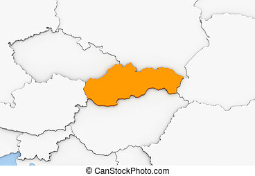 Slovakia - 3d render of abstract map of Slovakia highlighted...