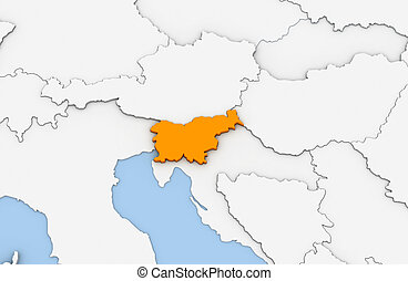Slovenia - 3d render of abstract map of Slovenia highlighted...