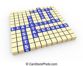 3d render of accounting concept crossword