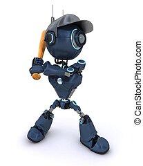 Android playing baseball