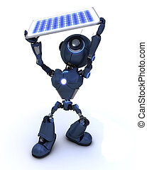 Android with a solar panel