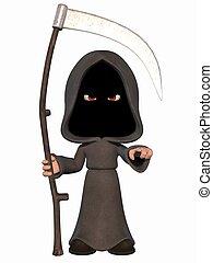 3D Render of an Cartoon Grim Reaper