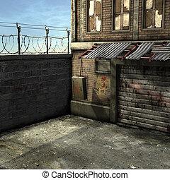 3D Render of an Dead End Alley Scene