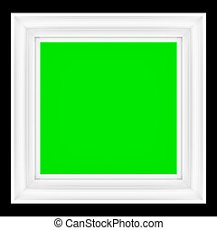 3d Render of an Empty Picture Frame with Green Screen