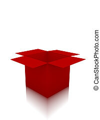3d Render of an Empty Red Box on White