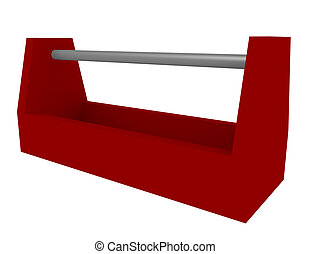 3d Render of an Empty Red Toolbox