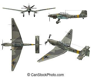 JU87D Stuka - Dive bomber from the World War II - 3D Render ...