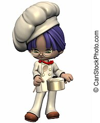 Little Cook - Toon Figure - 3D Render of an Little Cook -...