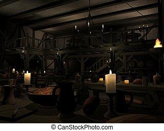 3D Render of an Medieval Tavern