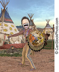 Native American Indian - Cheyenne - 3D Render of an Native...
