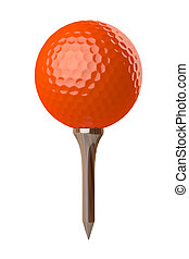 orange golf ball on tee