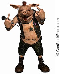 3D Render of an Toon Pig - Punk