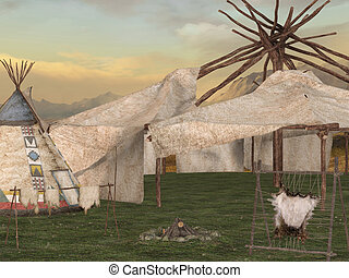 Traditional teepee village - 3D Render of an Traditional...