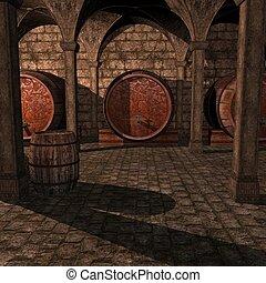 3D Render of an Wine Cellar