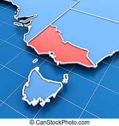 Australia map with Victoria state highlighted - 3d render of...