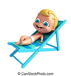 3D Render of baby with Beach chair