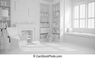 3d render of beautiful interior room