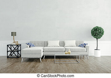 3d render of beautiful interior setup with couch and wooden floor