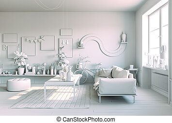3d render of beautiful white interior room