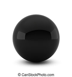 3d render of black ball on white background