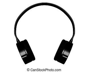 3d Render of Black Headphones Isolated on White