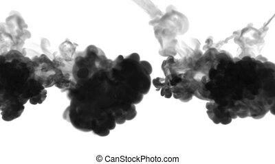 3d render of black ink dissolve in water, simulation of ink...