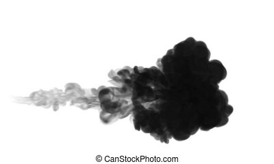 3d render of black ink dissolve in water, simulation of ink...