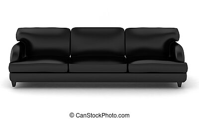 3d render of black leather sofa on white