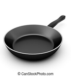 3d render of black pan on white