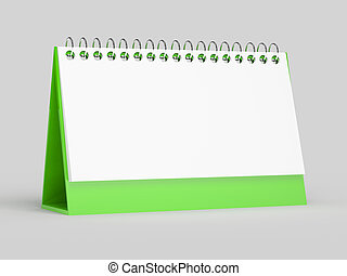 3d render of blank calendar on grey background